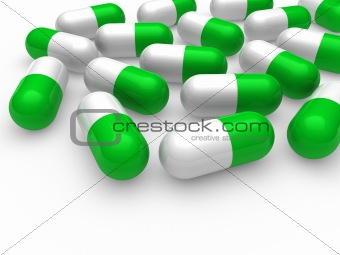 3d pill green white