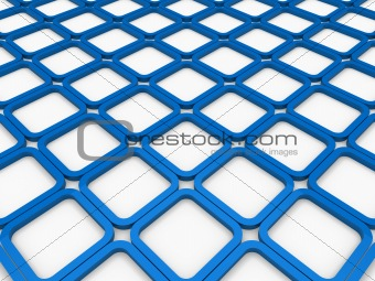3d cube blue square background