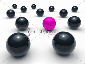 3d ball network purple black