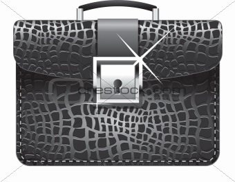 Vector illustration of a black leather briefcase