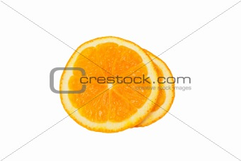 Slice of orange. isolated on white.