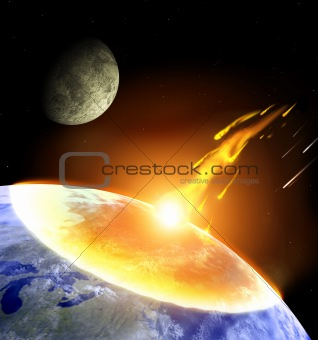 Collision of an asteroid with Earth