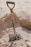 shovel in sand