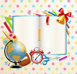 Back to school background with stationery