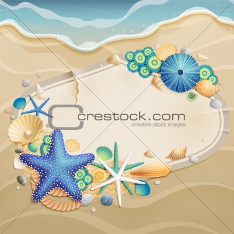 Vintage greeting card on sand