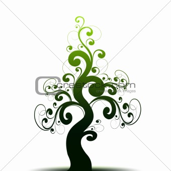 Beautiful art tree and green silhouette