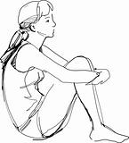 sketch of a girl sitting hugging her knees
