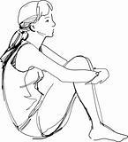 sketch of a girl sitting hugging her knees