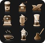 Coffee black background icon set.  