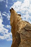 Cappadocia rock formation unusual angle itno the blue s