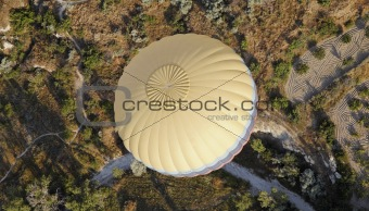 centralised overhead yellow hot air balloon