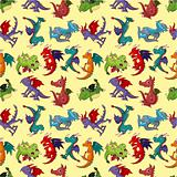 cartoon fire dragon seamless pattern