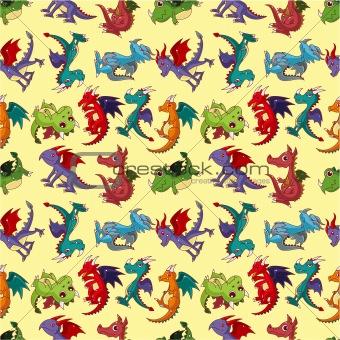 cartoon fire dragon seamless pattern