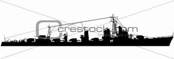Naval destroyer silhouette