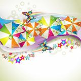Colored background with umbrellas and butterflies