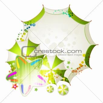 Green umbrellas and star