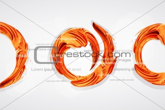 abstract orange swirl as a trace of paint brushes