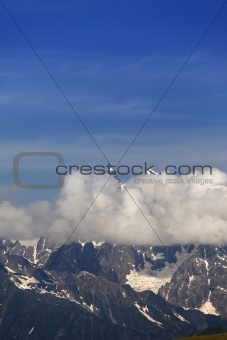 High mountains in clouds, Caucasus Mountains, Georgia.