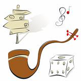 Set of illustrations sign, tobacco pipe, dice