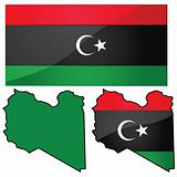 Map and flag of Libya