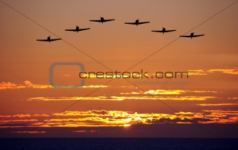 Airplanes at sunset