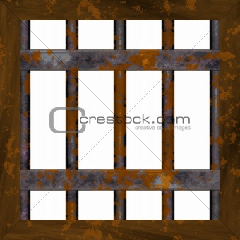 Rusty metal window frame