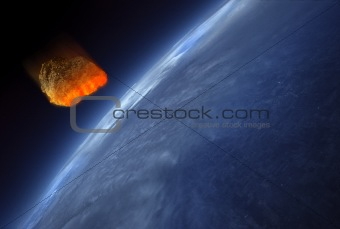 Meteor striking Earth atmosphere