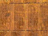 Rusty corrugated metal roof panels