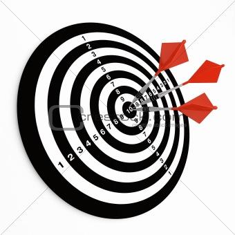Three darts on bullseye