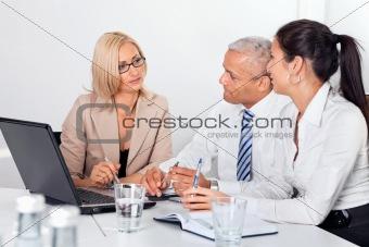 Business consultant advising
