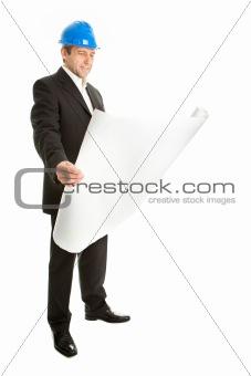 Portrait of architect wearing blue hard hat
