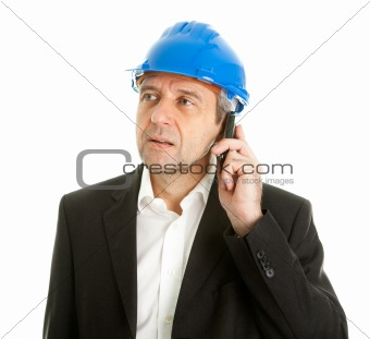Portrait of architect wearing blue hard hat