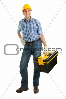 Confident repairman wearing hard hat