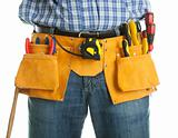Close-up on worker's toolbelt
