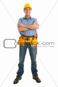 Confident worker wearing hard hat and toolbelt