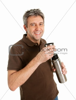 Portrait of senior man drinking coffee/tea