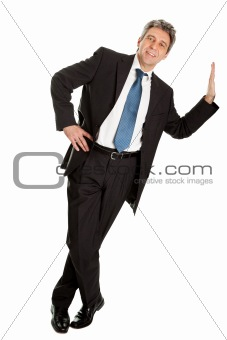 Portrait of business man leaning on wall