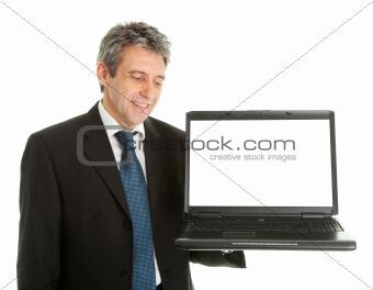 Business man presenting laptop