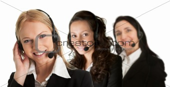 Group of cheerful call center operators