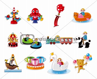 Cartoon Playground Equipment icons set