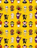 Cartoon Halloween holiday monster seamless pattern