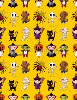 Cartoon Halloween holiday monster seamless pattern