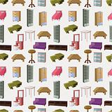 cute cartoon furniture seamless pattern