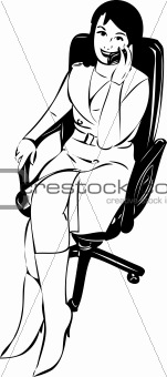 sketch of a girl in a chair talking on the phone