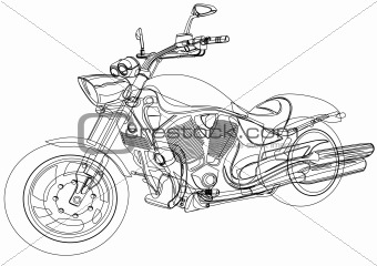 Vector drawing a big motorcycle