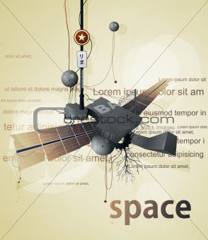 abstract space station satellite with wings and wires