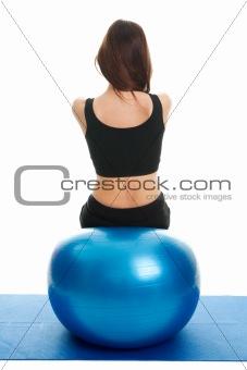 Fitness women exercising on fitness ball
