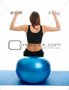 Fitness women doing weightlifting on fitness ball