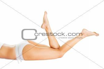 Beautiful woman body in white cotton underwear