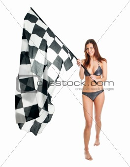 Beautilful girl waving racing flag